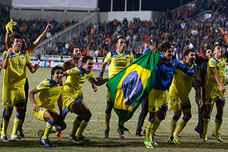 Apoel Nicosia celebrates the qualification for the Champions League knockout round.jpg
