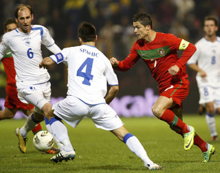 Cristiano Ronaldo in the playoff match for the qualitication of Euro 2012 Bosnia against Portugal.jpg