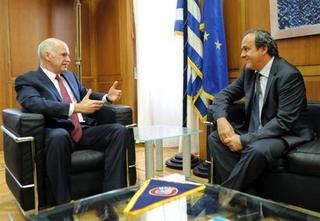 Michel Platini and Greek Prime Minister about corruptions in Greek football.jpg